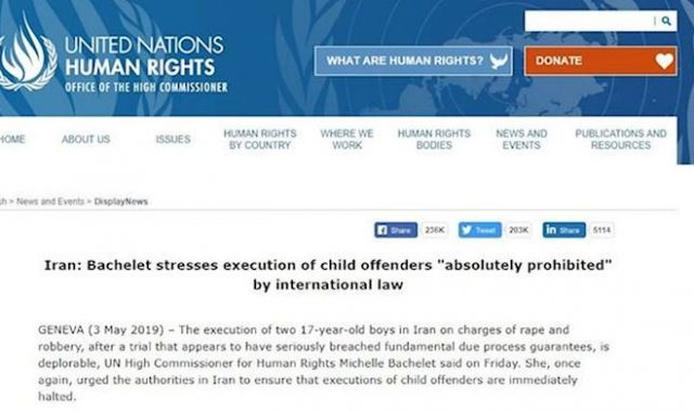 The U.N. High Commissioner Condemns Execution of Two Juveniles in Iran