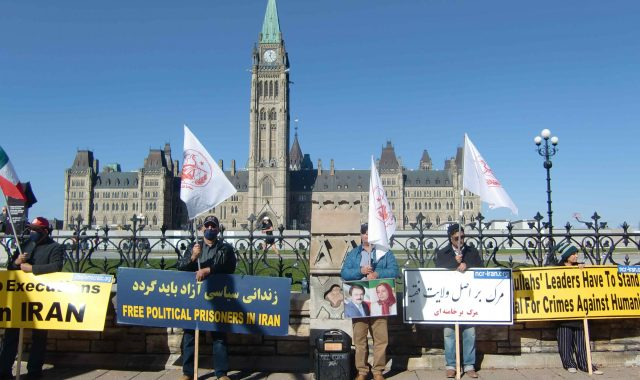Freedom Loving Iranians In Ottawa Demonstrating In Solidarity with Iranian Uprising