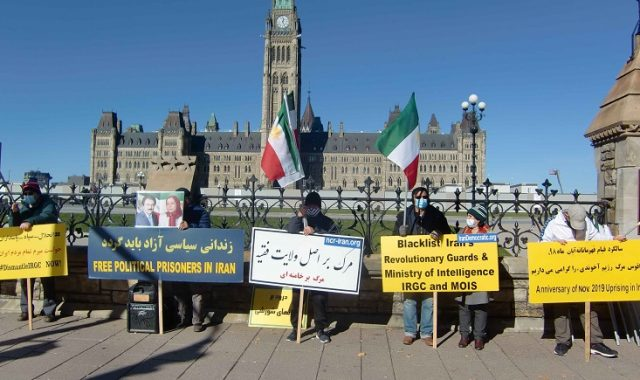 Supporters of Iranian Resistance against Ayatollahs demonstrating in Toronto, Vancouver and Ottawa demanding the listing of IRGC